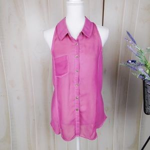 Free People Magenta Collared Sheer Blouse